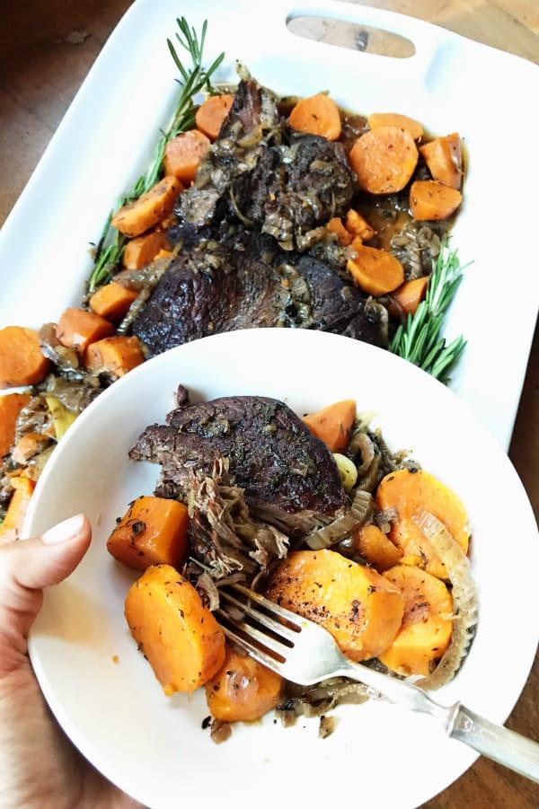 Easy Slow Cooker Sweet Potato Roast Beef Dinner