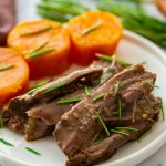 serving of sweet potatoes and roast beef