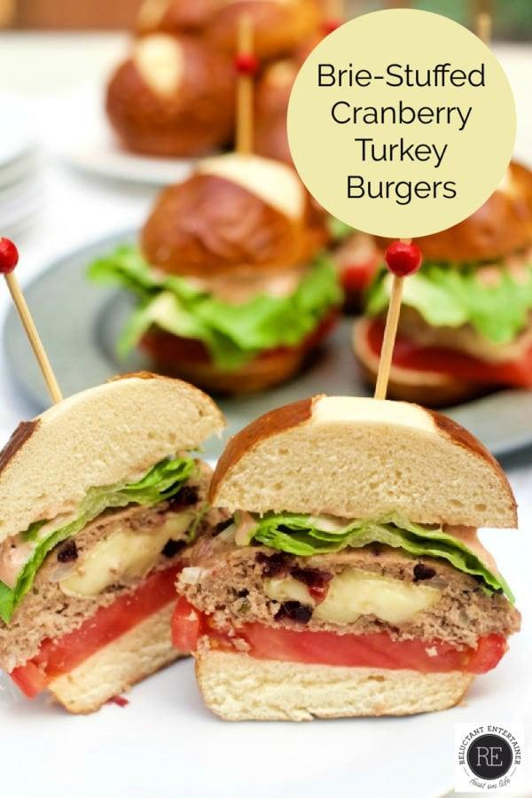 Brie-Stuffed Cranberry Turkey Burger cut in half