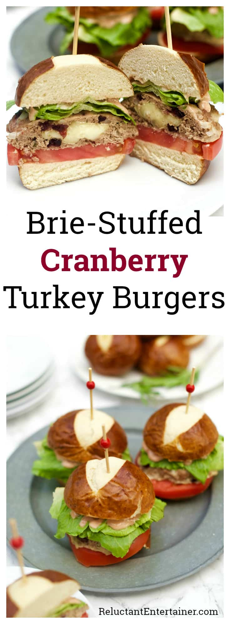 Brie-Stuffed Cranberry Turkey Burgers