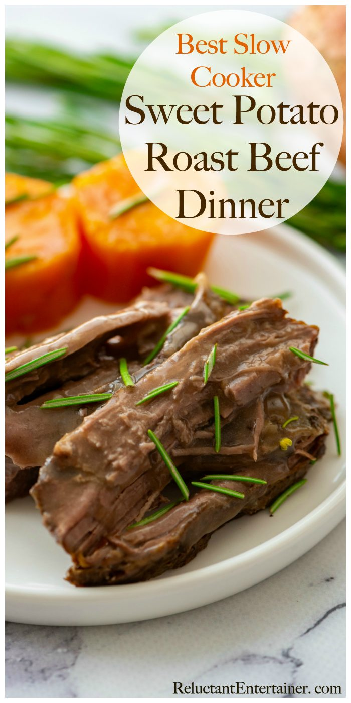 a serving of delicious slow cooker sweet potato and roast beef dinner