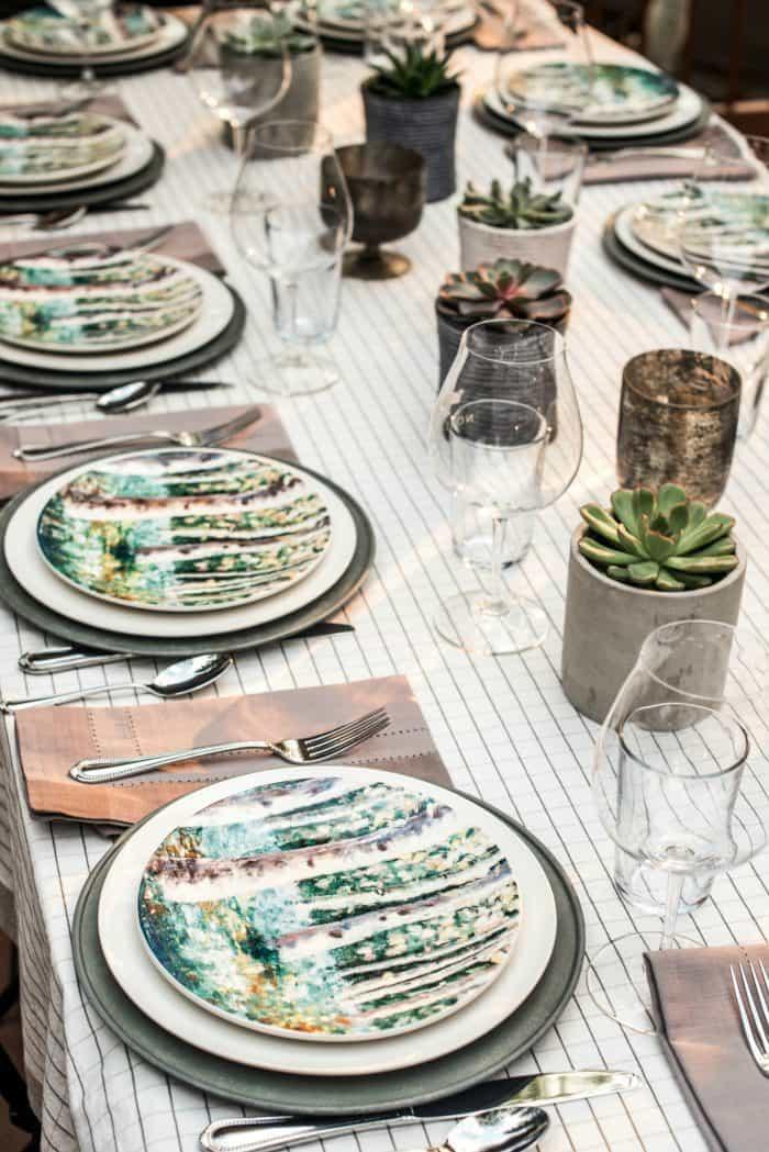 Teal Birch Tree Salad Plates