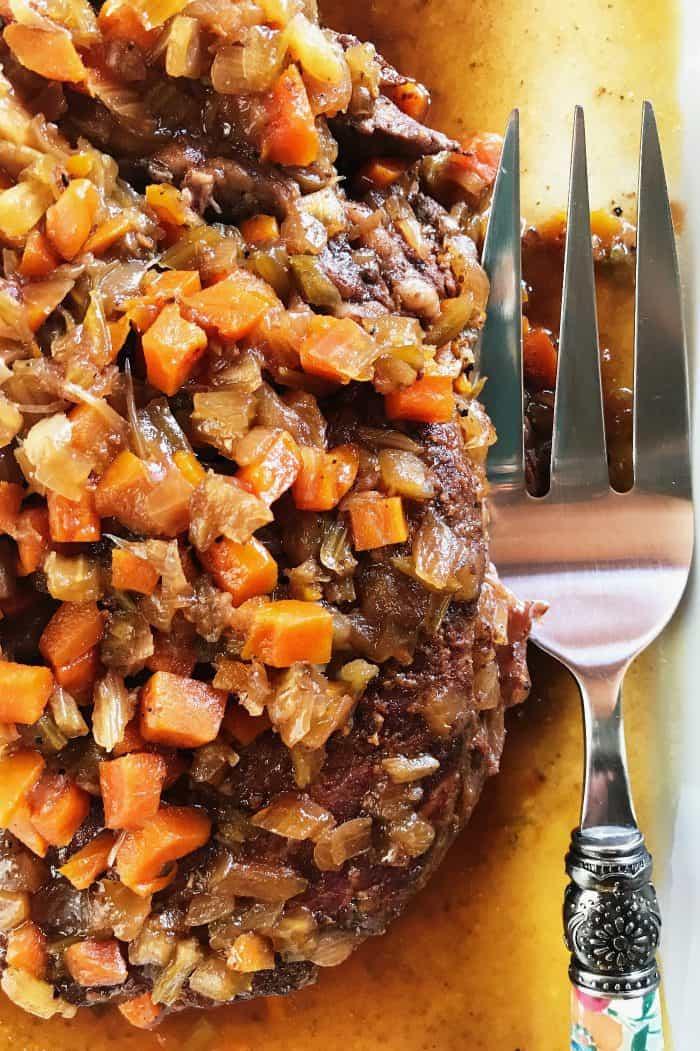 Slow Cooker Mirepoix Roast Beef