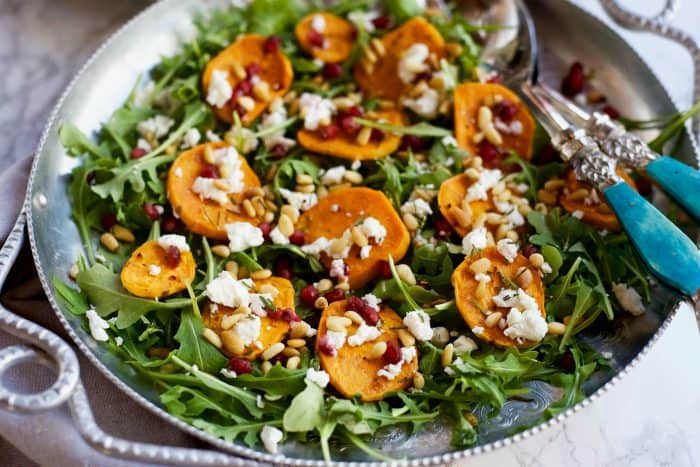 Garlic Roasted Yam Arugula Salad