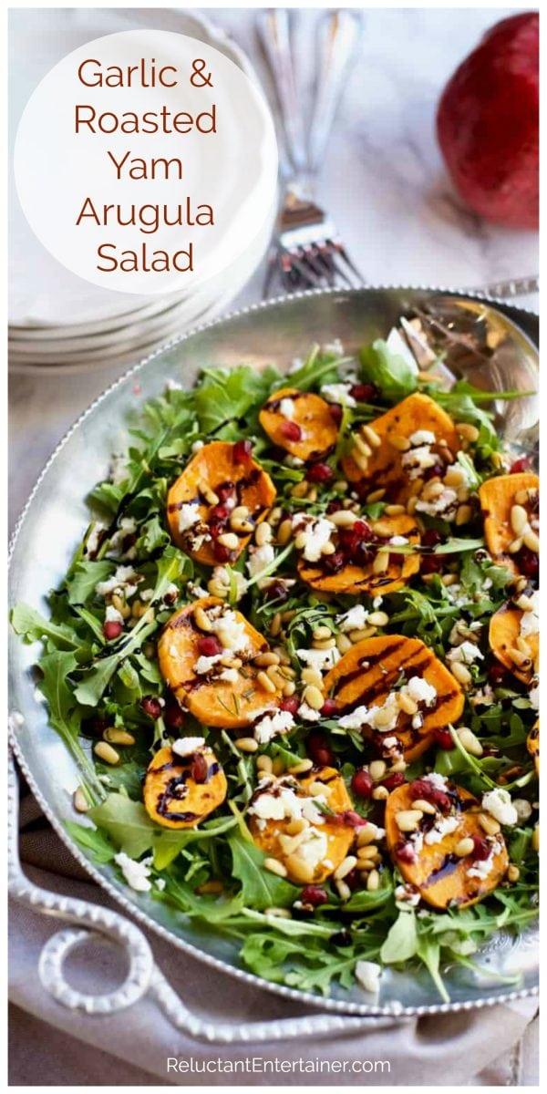 bowl of Roasted Yam Arugula Salad