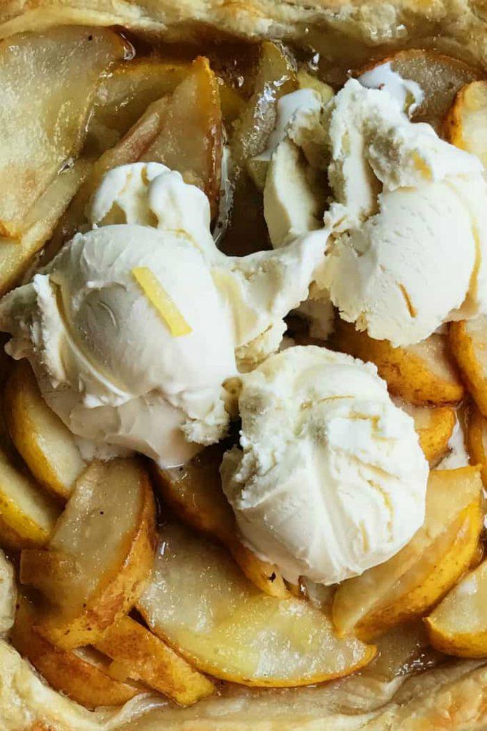 Pear Puff Pastry Dessert Recipe with ice cream