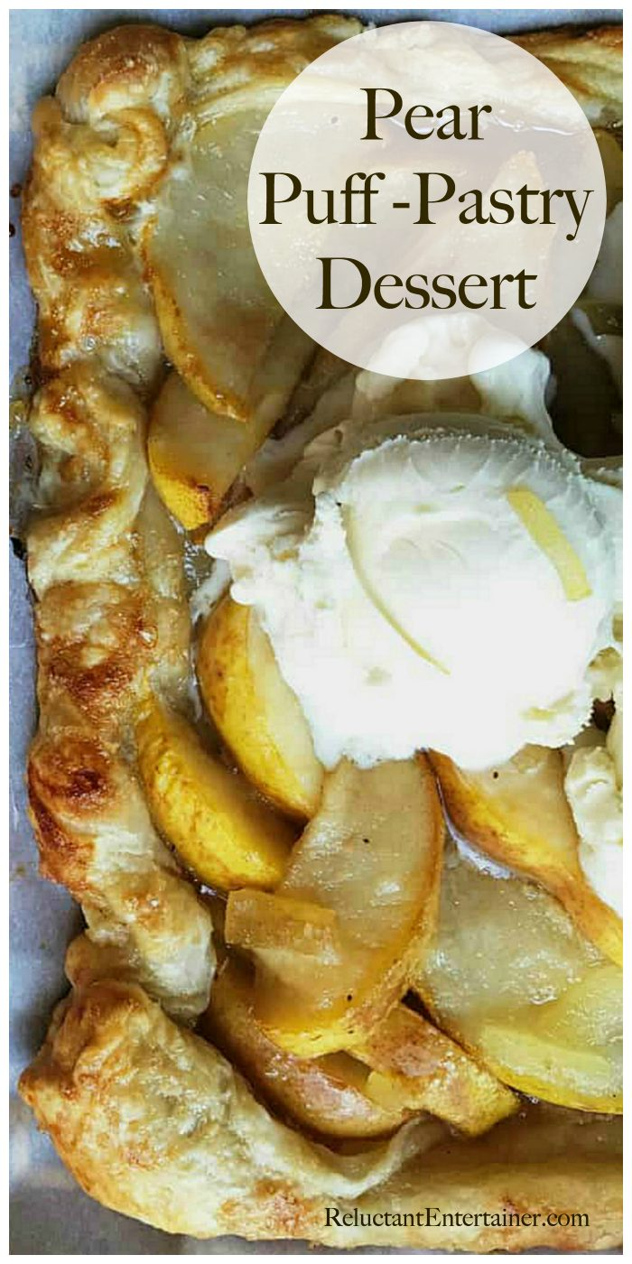 Deliciouos Pear Puff Pastry Dessert Recipe with ice cream scooped on top