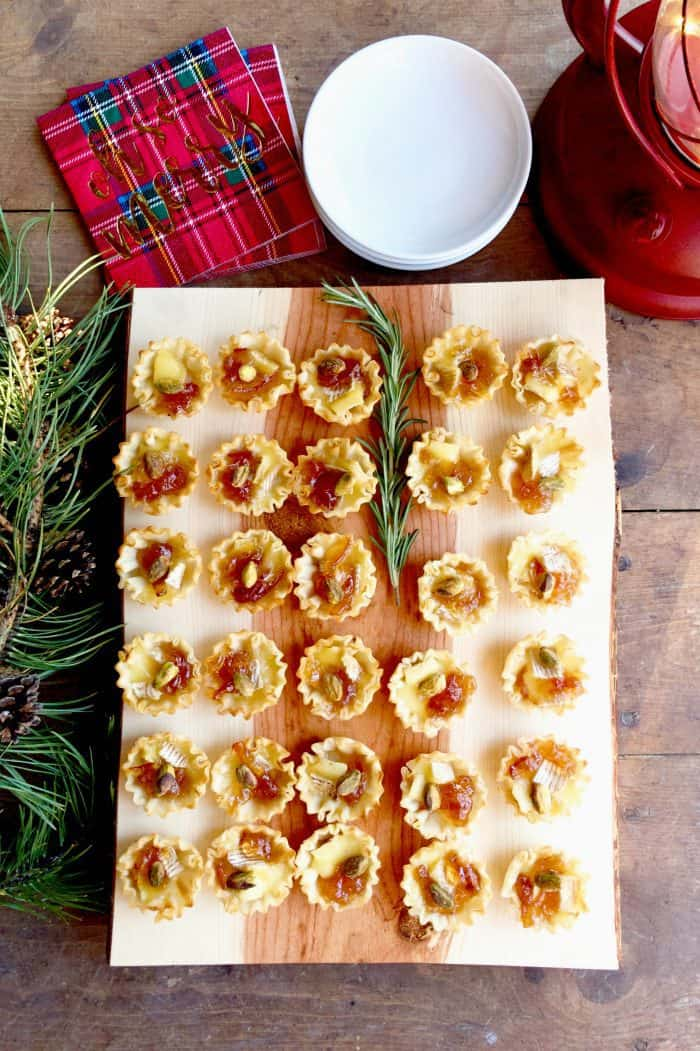 holiday tray of Marmalade Pistachio Brie Mini Tartlets