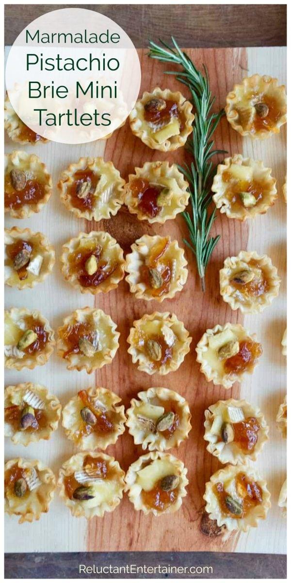 tray of Marmalade Pistachio Brie Mini Tartlets
