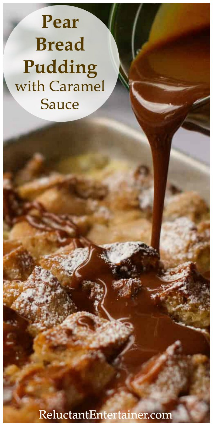 drizzling caramel sauce over pear bread pudding