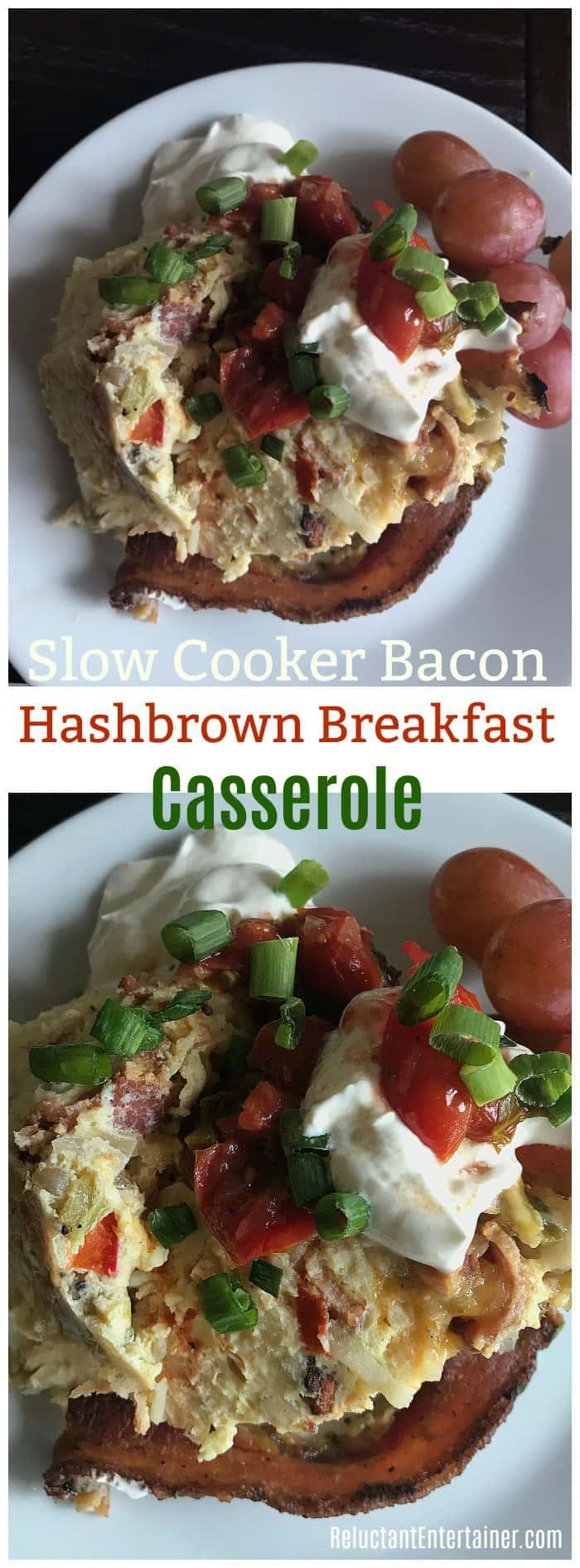 Slow Cooker Bacon Hashbrown Breakfast Casserole
