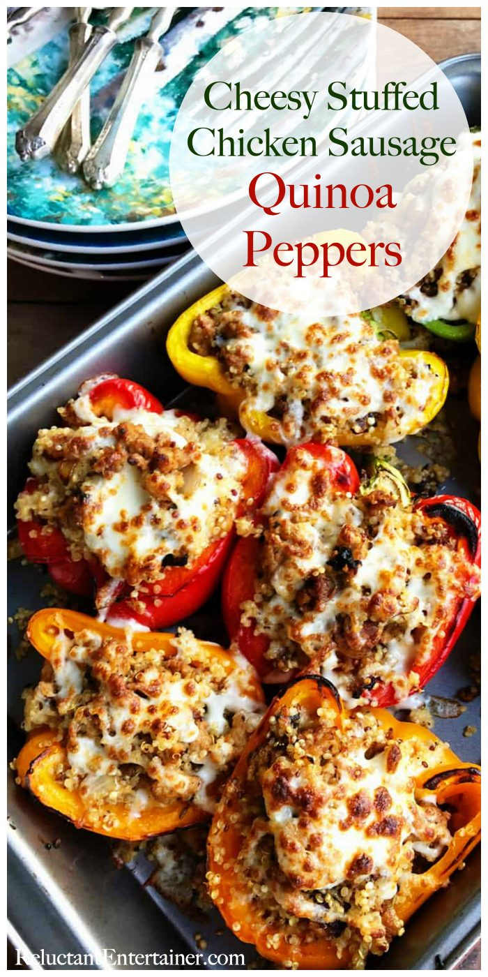 Cheesy Stuffed Chicken Sausage Quinoa Peppers Recipe