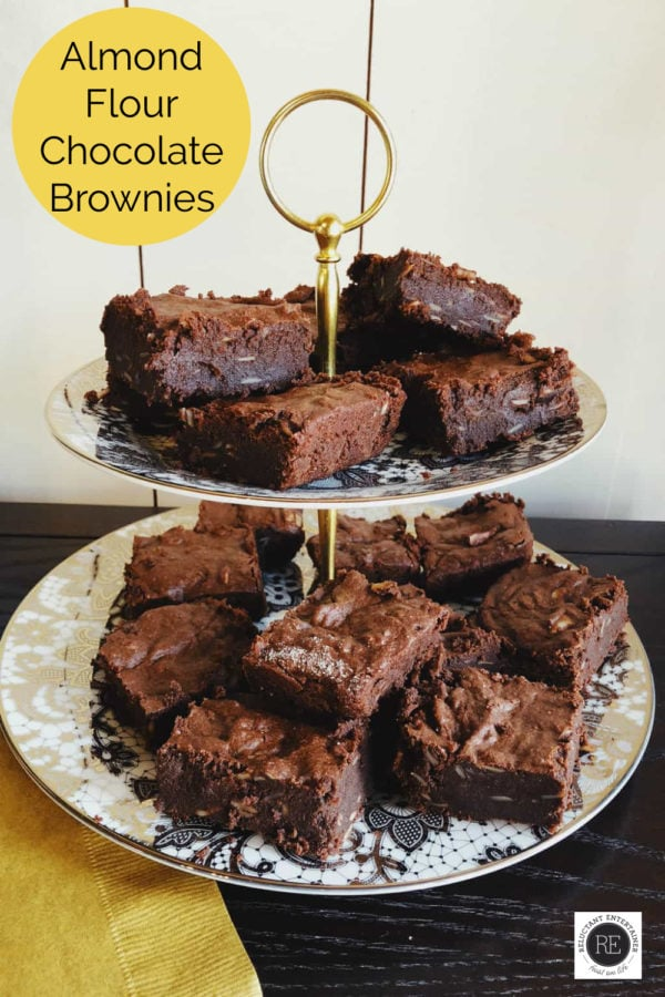 pieces of Almond Flour Chocolate Brownies on a dish