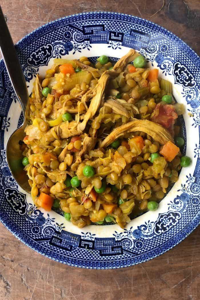 Chicken Curry Crock Pot Lentil Soup in blue bowl