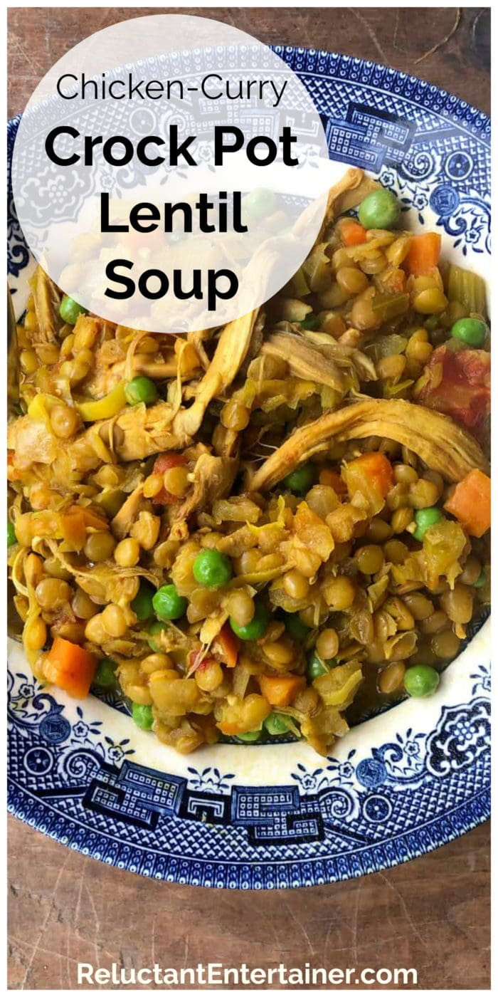 delicious bowl of Chicken Curry Crock Pot Lentil Soup