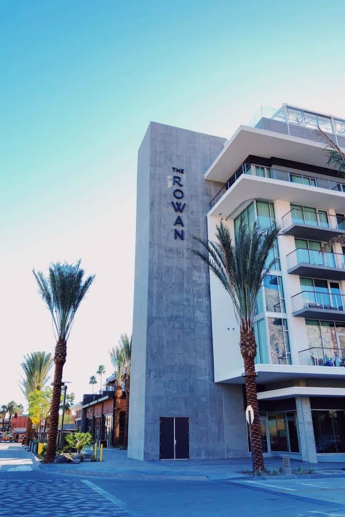 Outside Kimpton Rowan Hotel Palm Springs CA