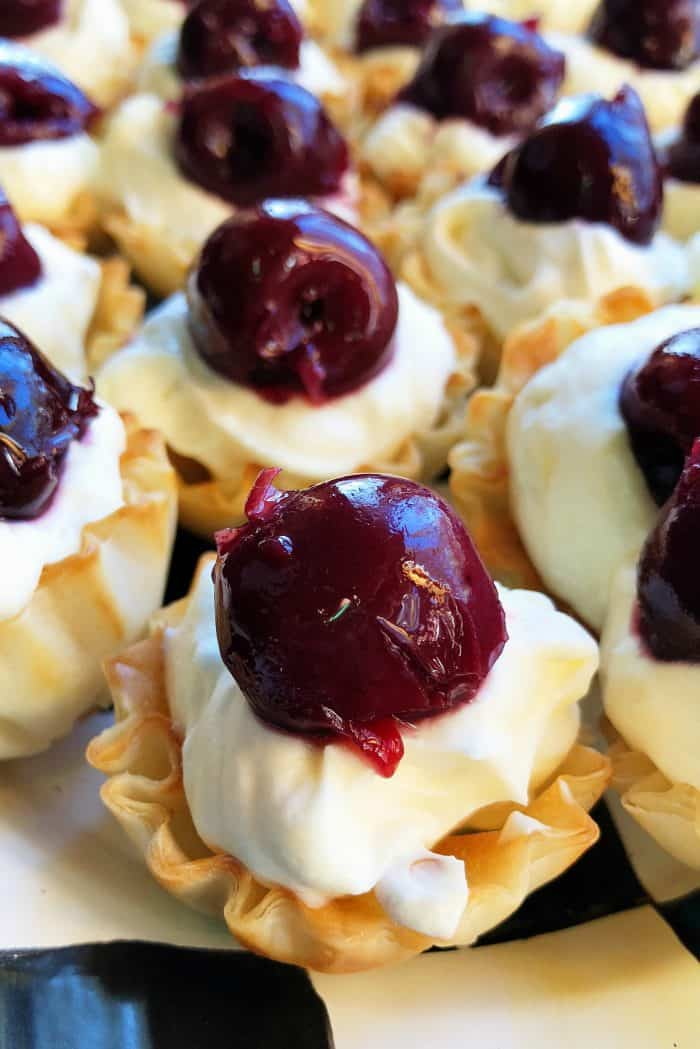 Lemon Cream Cherry Phyllo Tartlets
