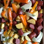Colorful Parsnips Rutabaga Sausage Sheet Pan Dinner