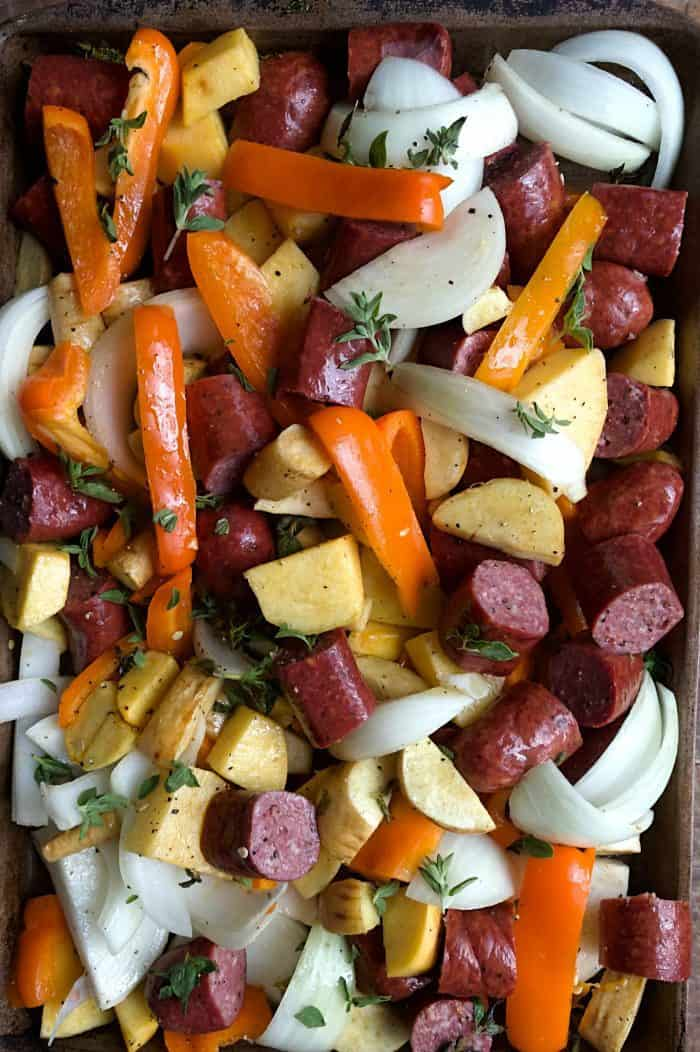 Parsnips Rutabaga Sausage Sheet Pan Dinner