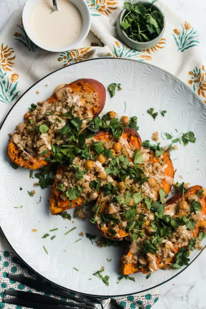 Stuffed Tahini Sweet Potatoes