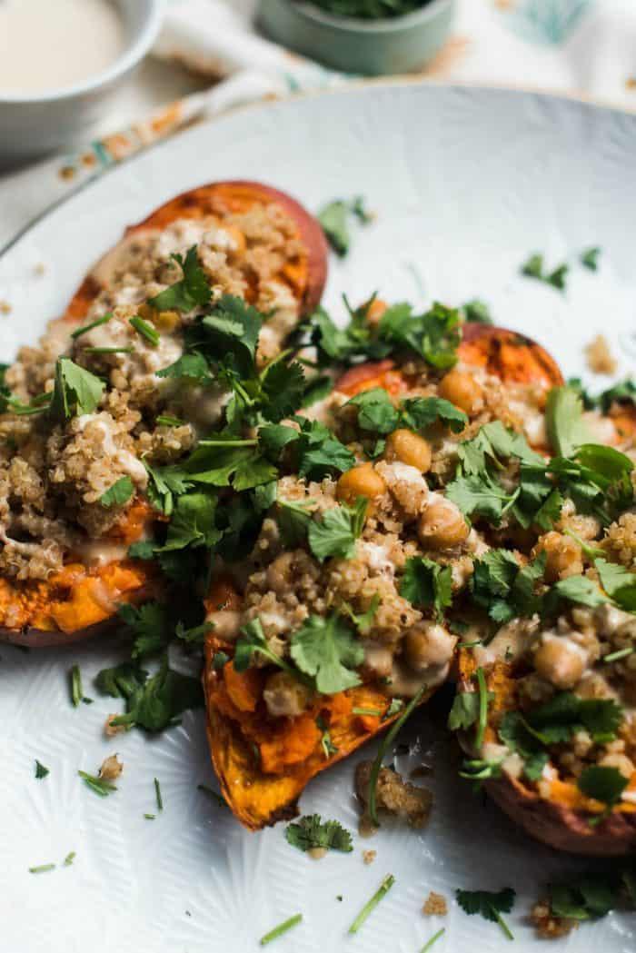 Vegetarian Tahini Stuffed Sweet Potatoes