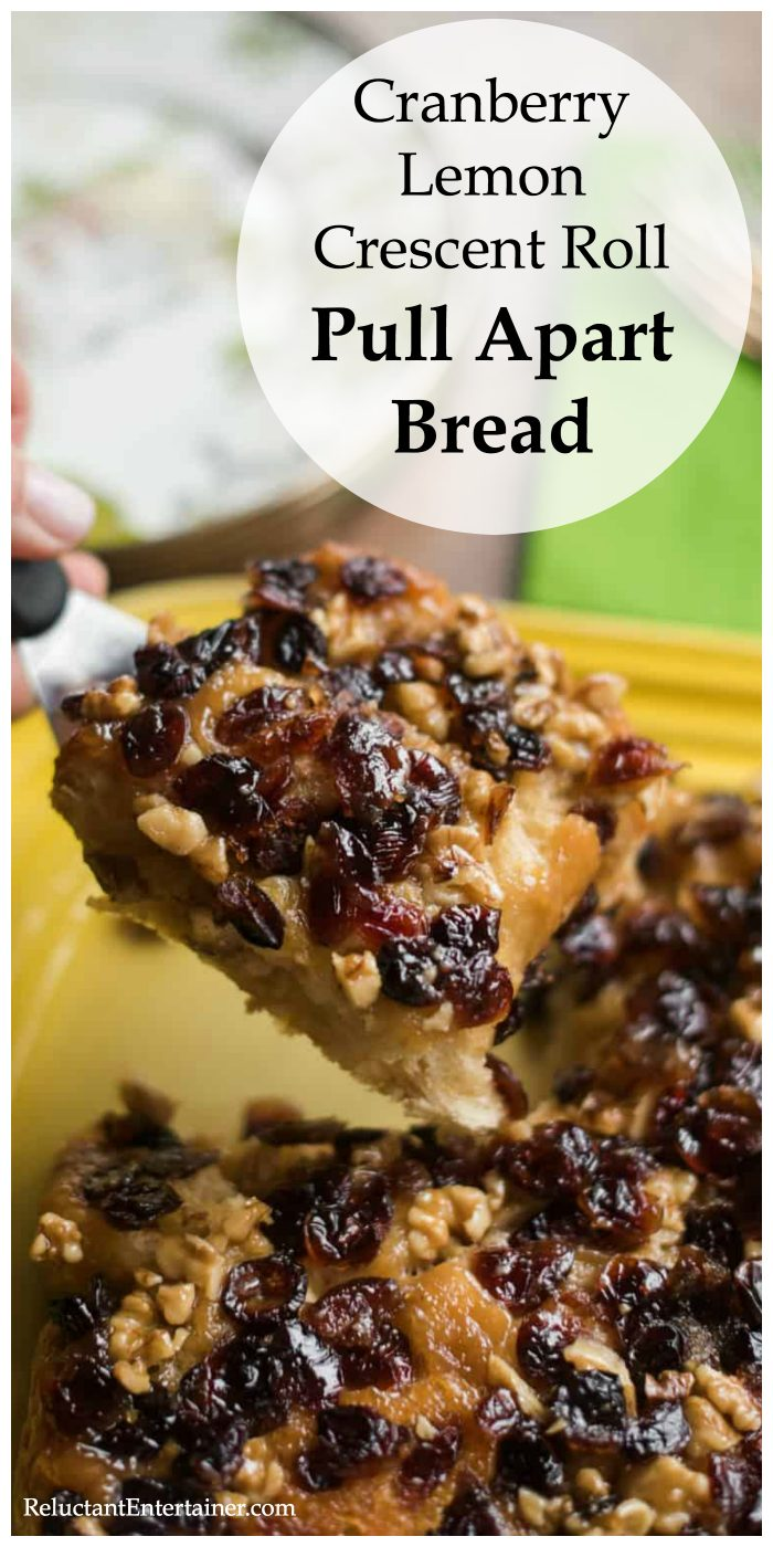 Cranberry Lemon Crescent Roll Pull Apart Bread