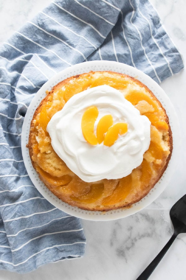 peach upside down cake with whipped cream
