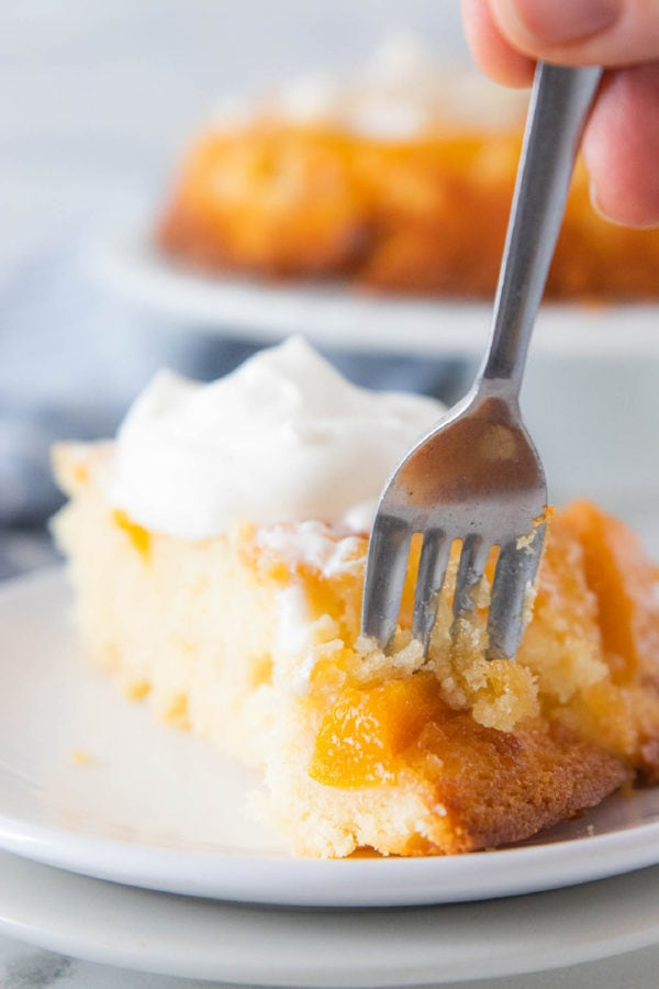 taking a bite of cake with fork (peach cake)