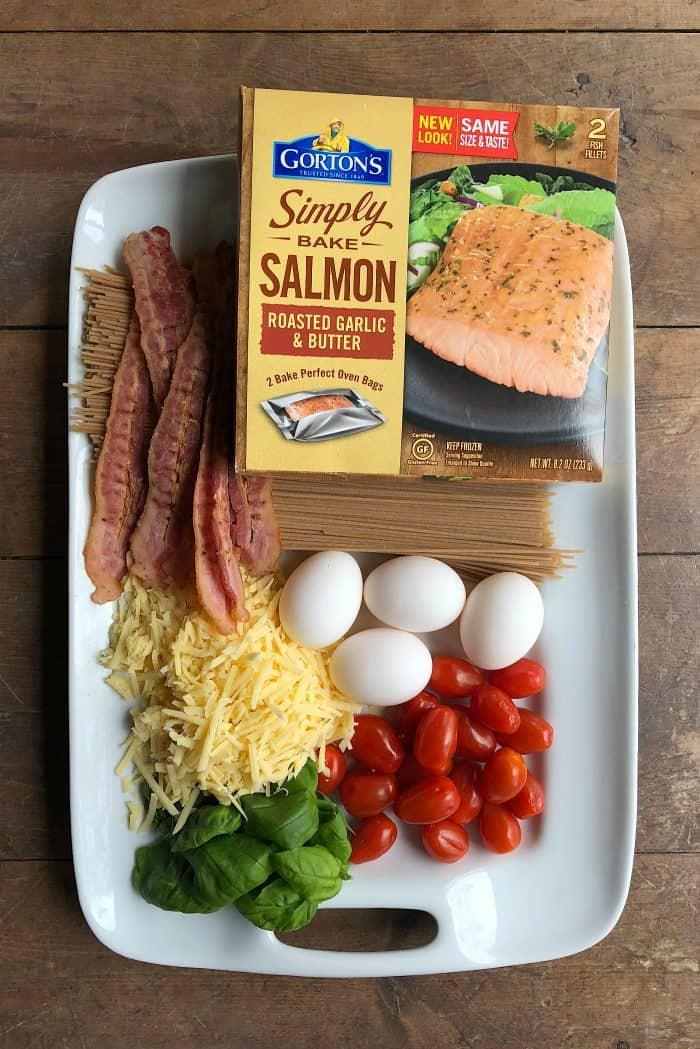 Delicious Salmon Spaghetti Carbonara from ReluctantEntertainer.com #trustGortons