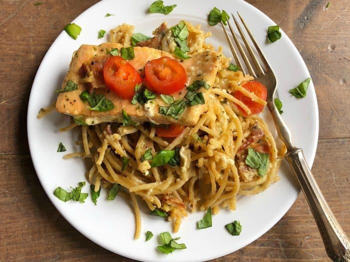 Easy Salmon Spaghetti Carbonara Recipe from ReluctantEntertainer.com #trustGortons