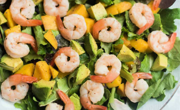 prawns, avocado, and mango salad