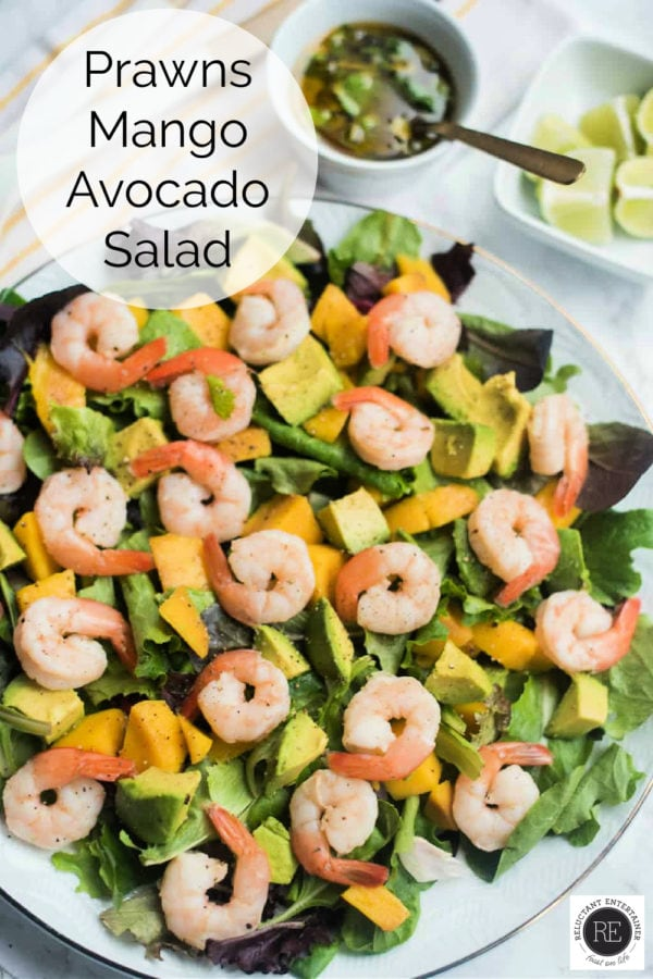 prawns and avocado salad with lime dressing