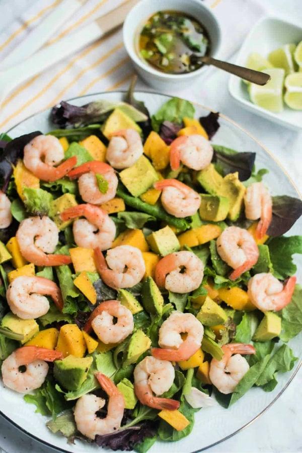 lime dressing with prawns mango salad