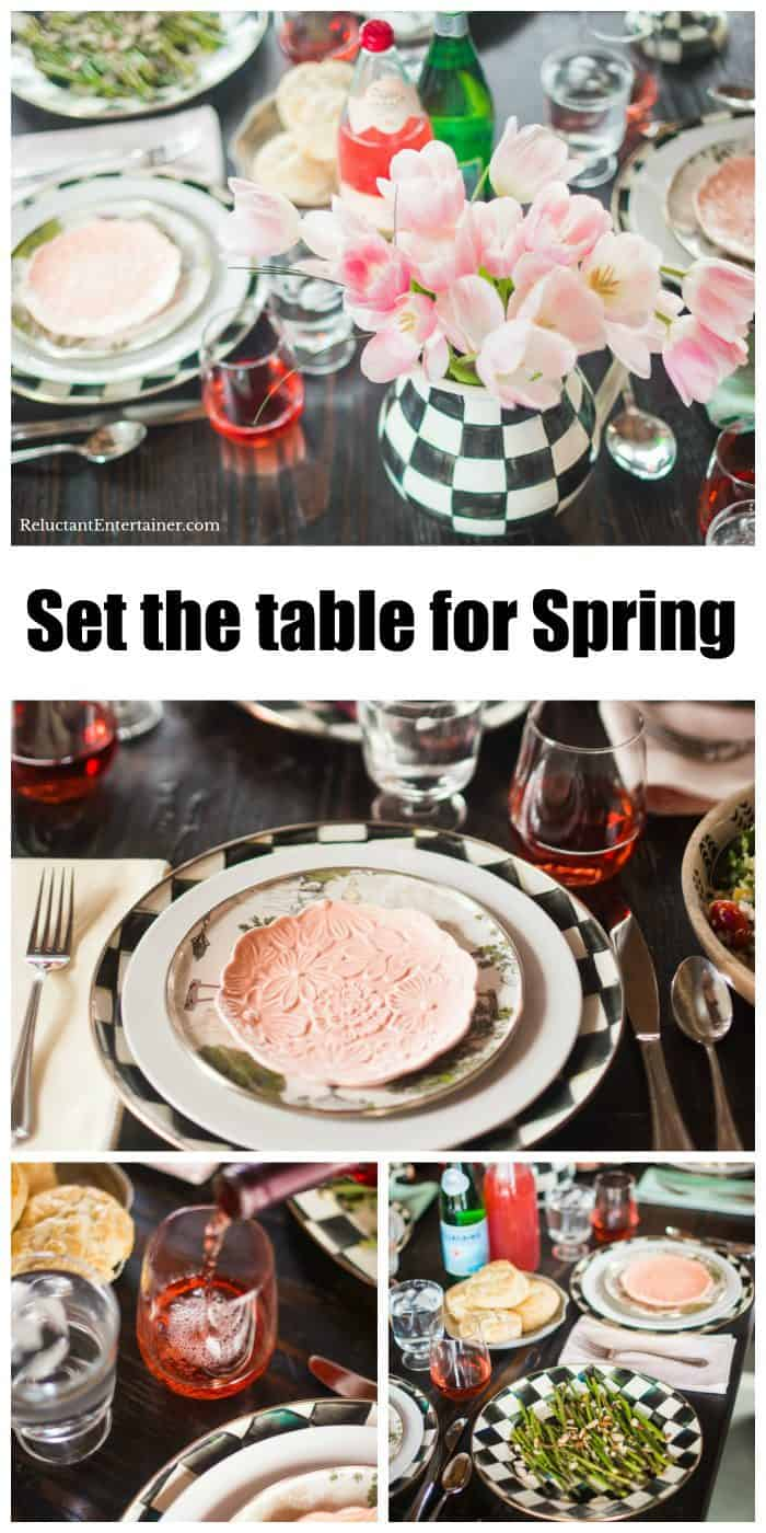Set the table for spring or Easter with a delicious menu and pink tulips!