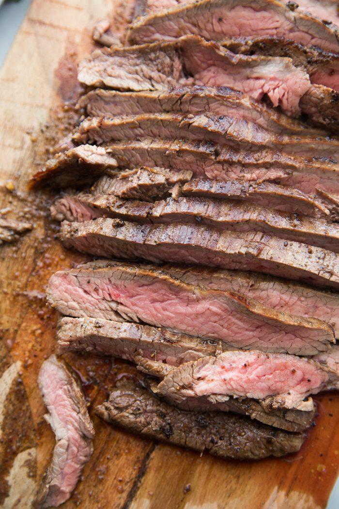 slices of tender flank steak