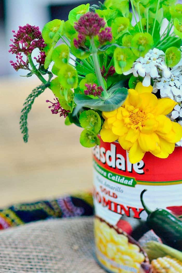 Flowers in can for cinco de mayo