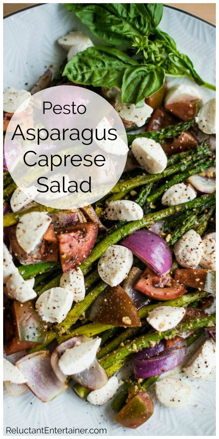 colorful plate of Pesto Asparagus Caprese Salad