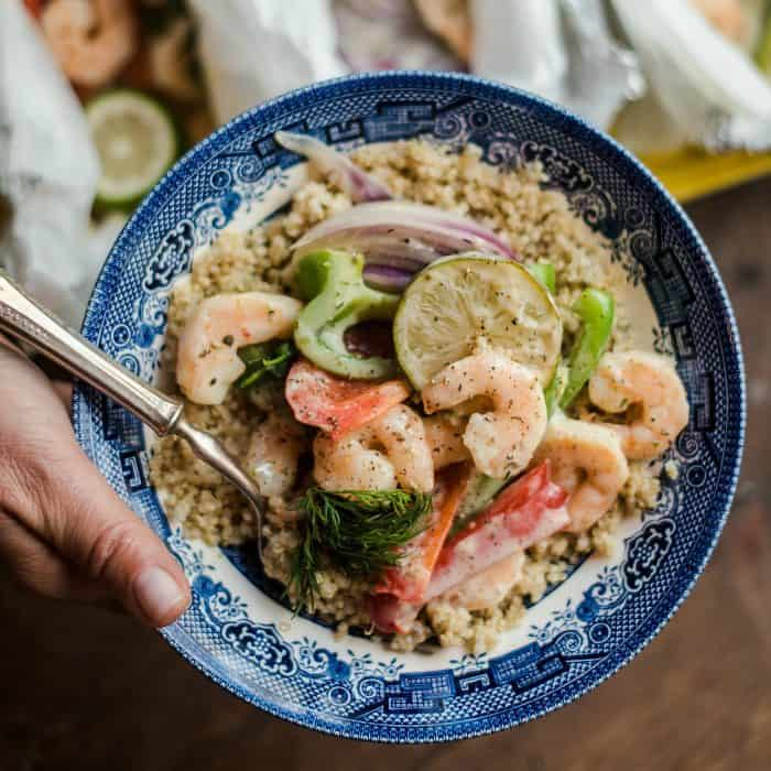 Tasty Shrimp Scampi Foil Pack Dinner