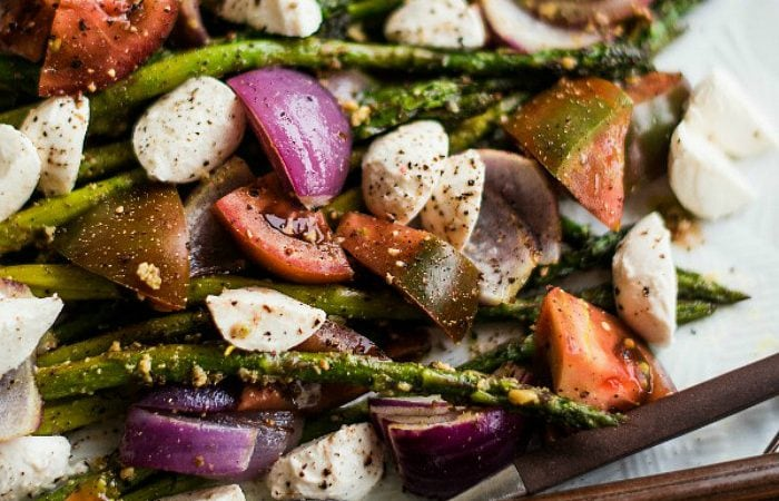 close up view of Pesto Asparagus Caprese Salad Recipe