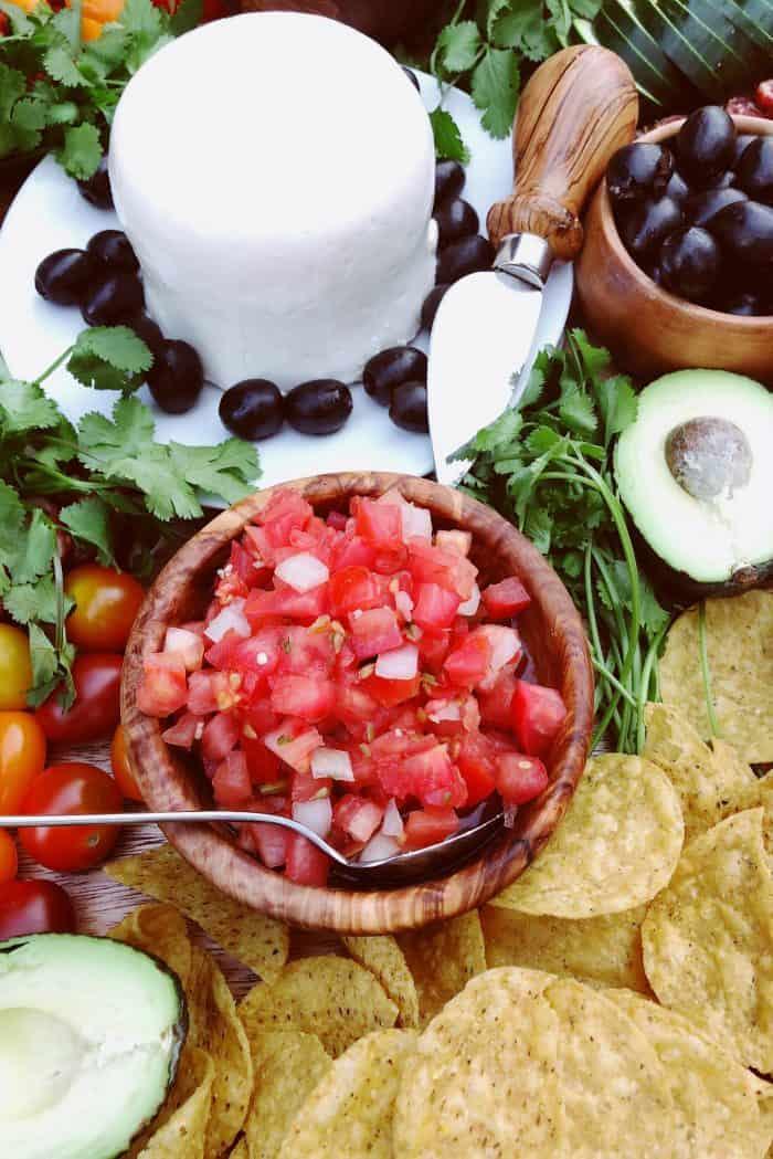 Cinco de Mayo Mexican Charcuterie Board salsa