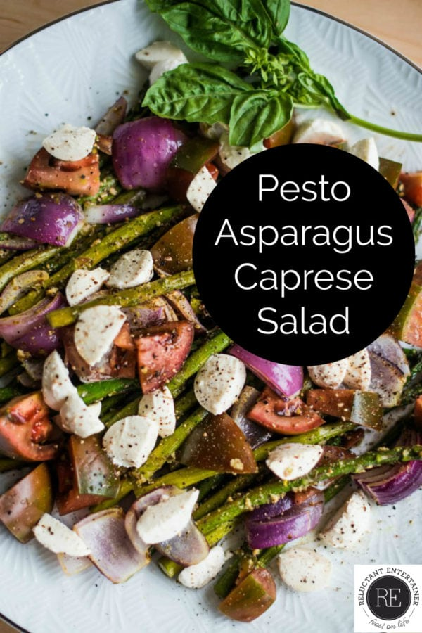 plate of pesto asparagus salad
