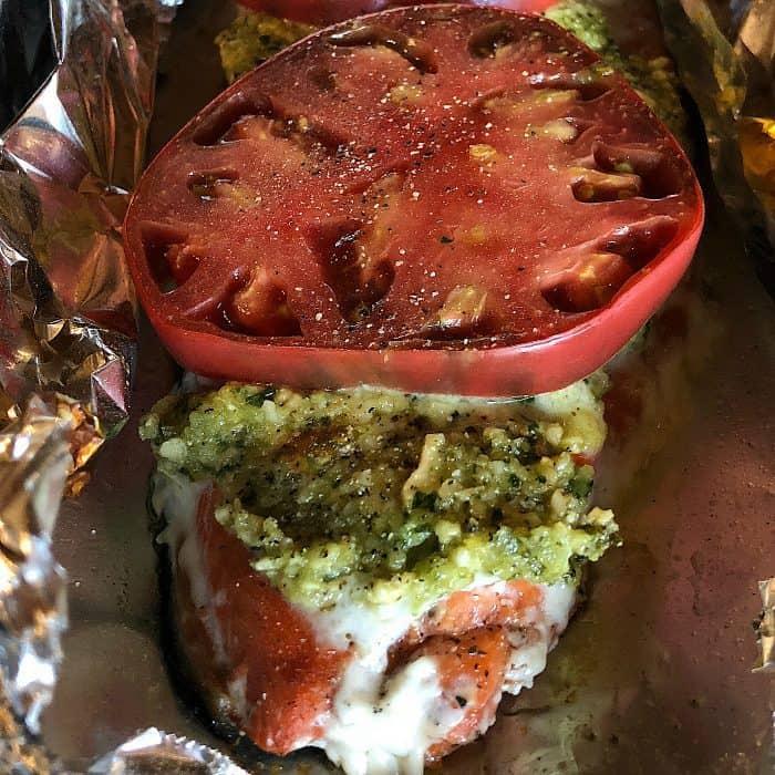 Dairy-Free Cashew Pesto Wild Sockeye Salmon with Heirloom Tomato