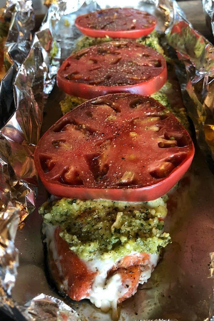 Cashew Pesto Wild Sockeye Salmon with Heirloom Tomato