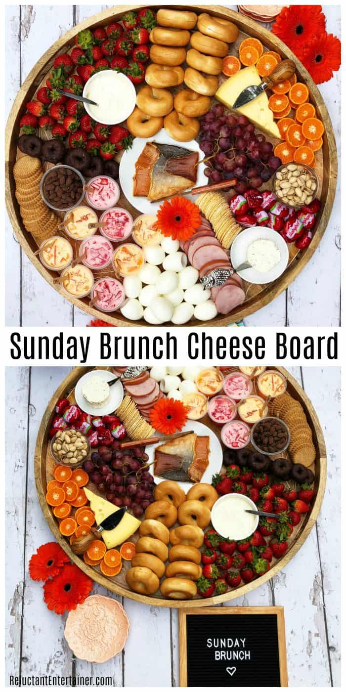 Big round beautiful Sunday Brunch Cheese Board with salmon, boiled eggs, mini bagels, and more