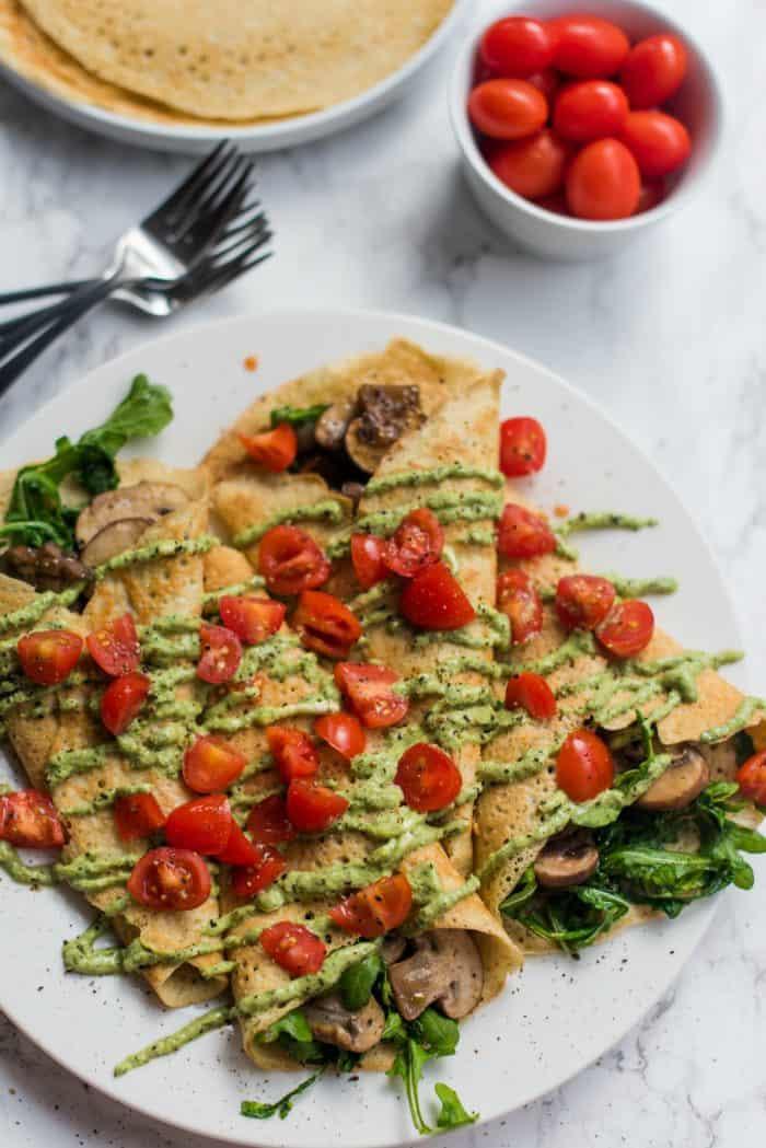 Tasty Savory Pesto Mushroom Crepe Recipe