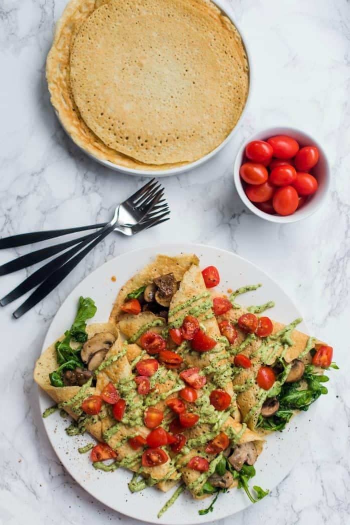 Savory Pesto Mushroom Crepe Recipe
