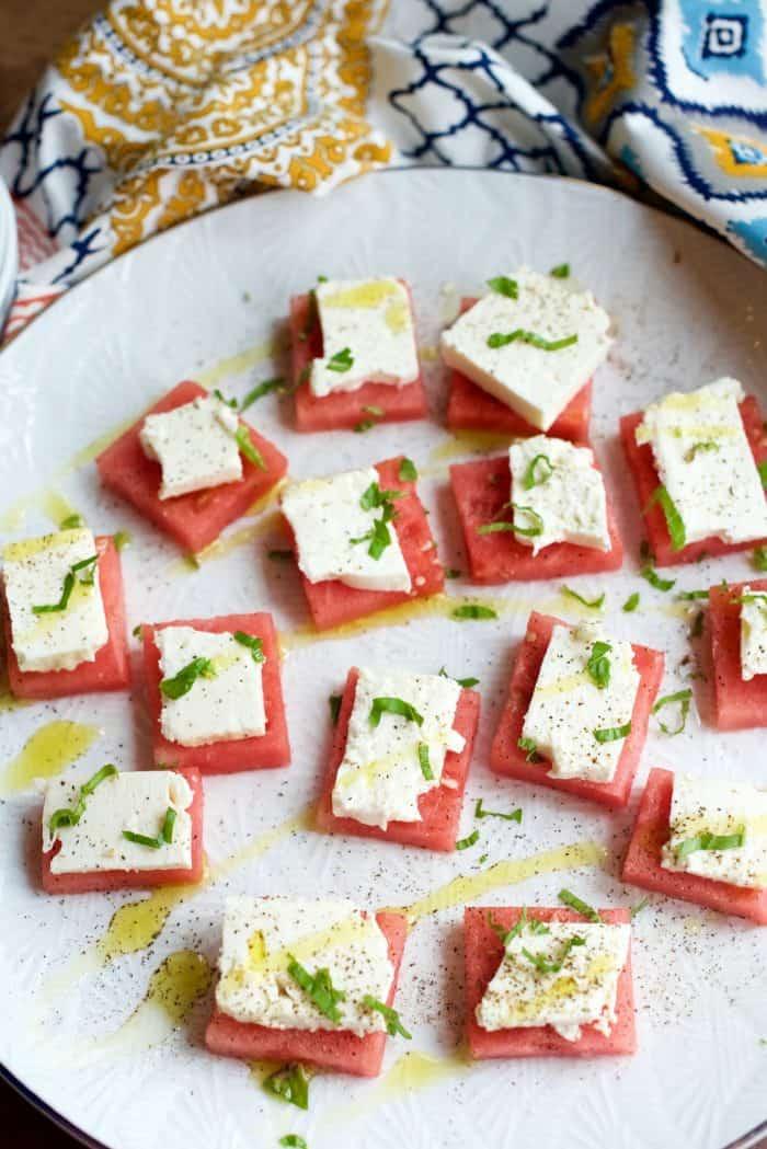 Easy Watermelon Feta Bites Appetizer on white plate