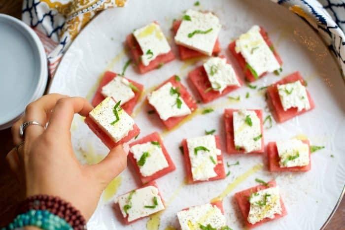 square bite of Watermelon Feta Appetizer