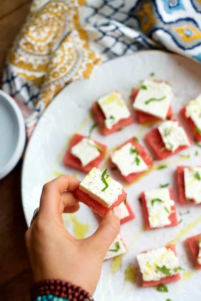 Watermelon Feta Bites Appetizer