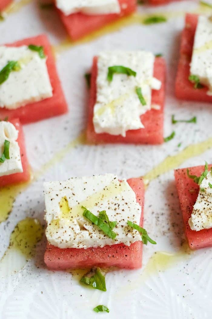 up close bite of Watermelon Feta Appetizer